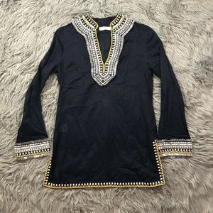 Tory Burch Embroidery Fringe Tunic Collar